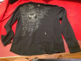 J Ferrar modern fit graphic thermal Tee t shirt black with gray eagles image 2