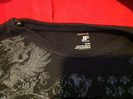J Ferrar modern fit graphic thermal Tee t shirt black with gray eagles image 6