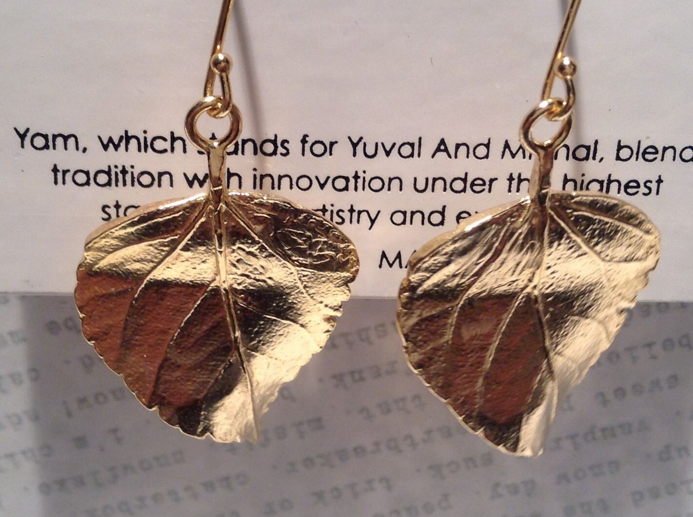 Large 14K Gold Plated Leaf Earrings With Sterling Silver Base 1 Micron Handmade