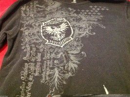 J Ferrar modern fit graphic thermal Tee t shirt black with gray eagles image 5