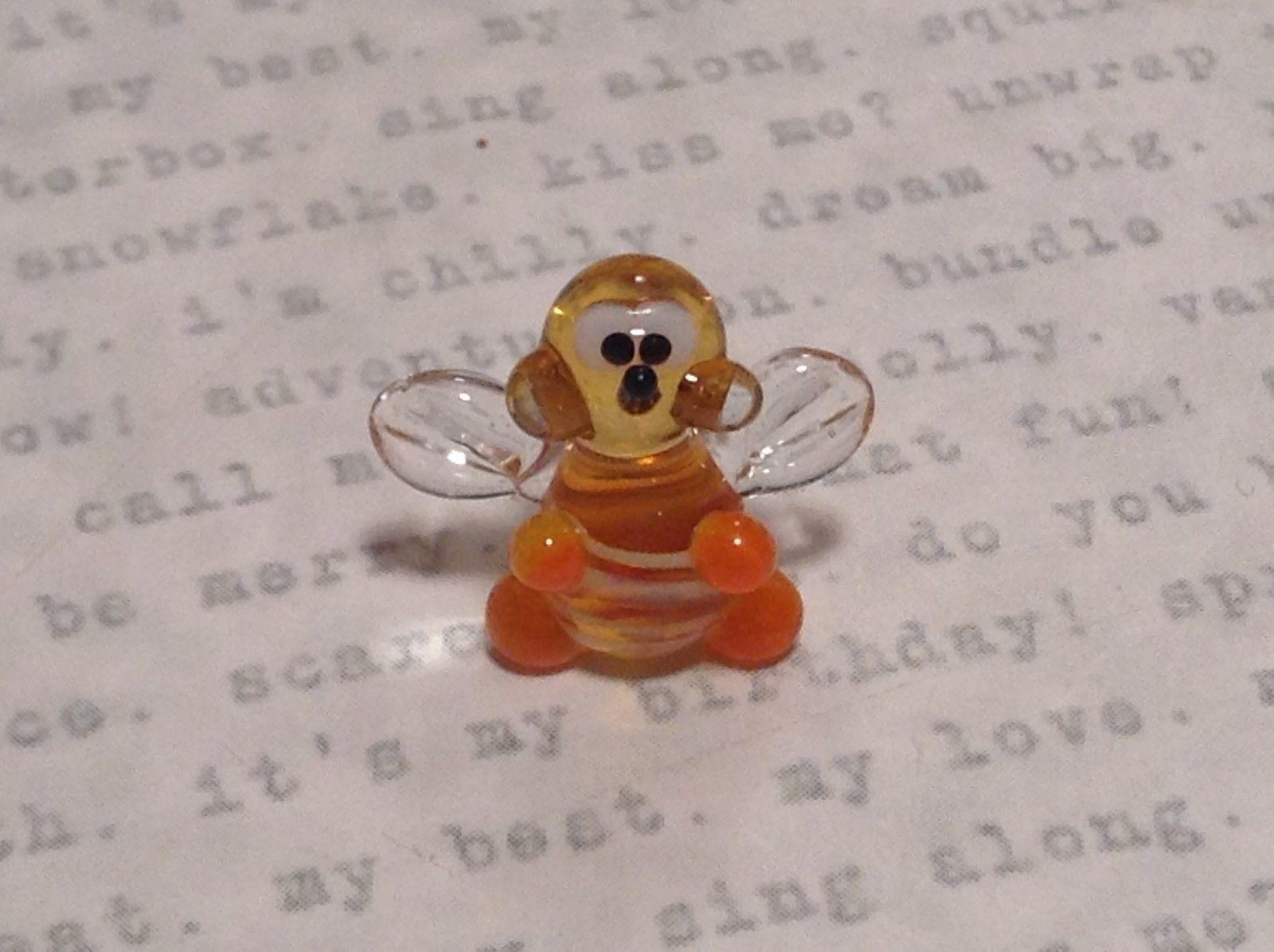 Micro miniature small hand blown yellow and black tiny happy bee  USA  NIB