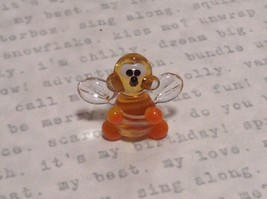 Micro miniature small hand blown yellow and black tiny happy bee  USA  NIB