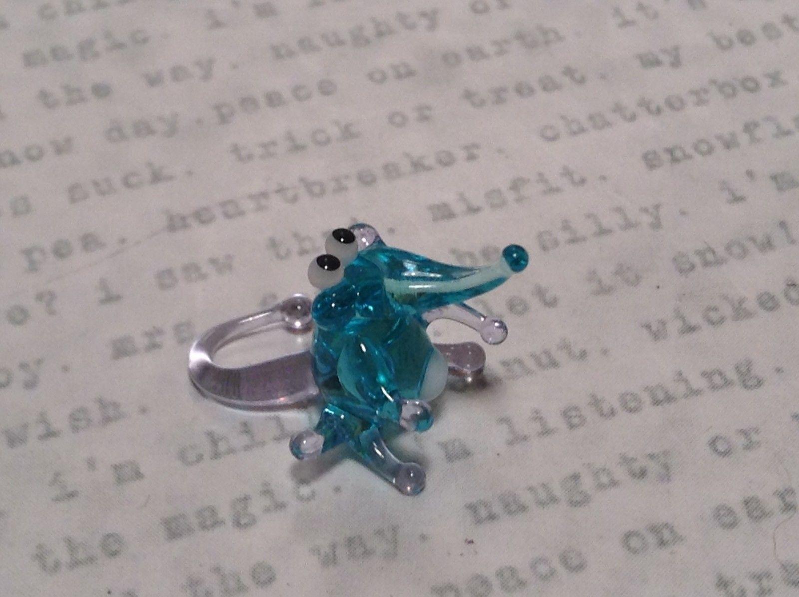 Micro miniature small hand blown light blue mouse or rat  USA  NIB