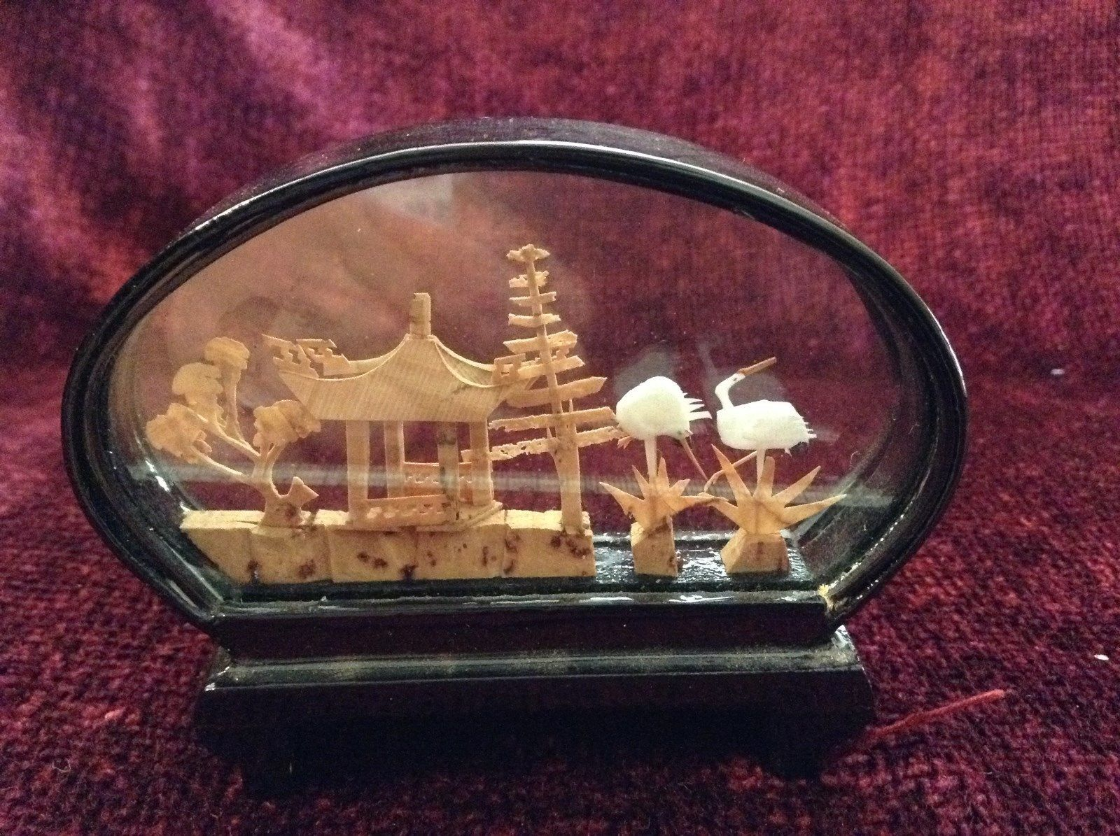 Miniature Japanese Cork Diorama Two Cranes Two Trees and Japanese Hut