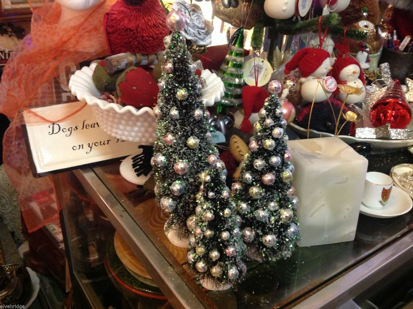 Miniature Christmas tree with ornaments perfect for office or apartment