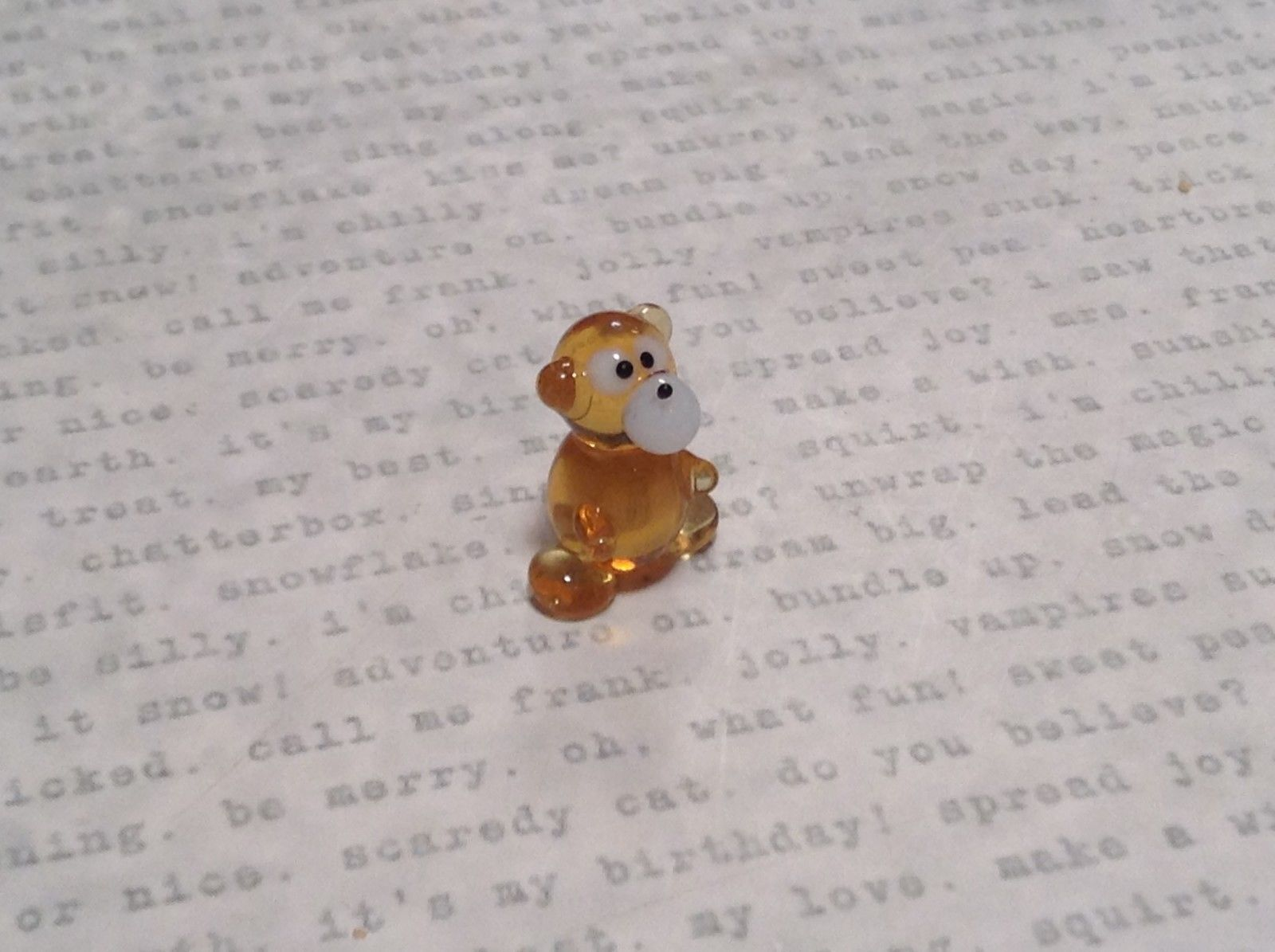Miniature small hand blown glass amber bear  or monkey ? made USA NIB