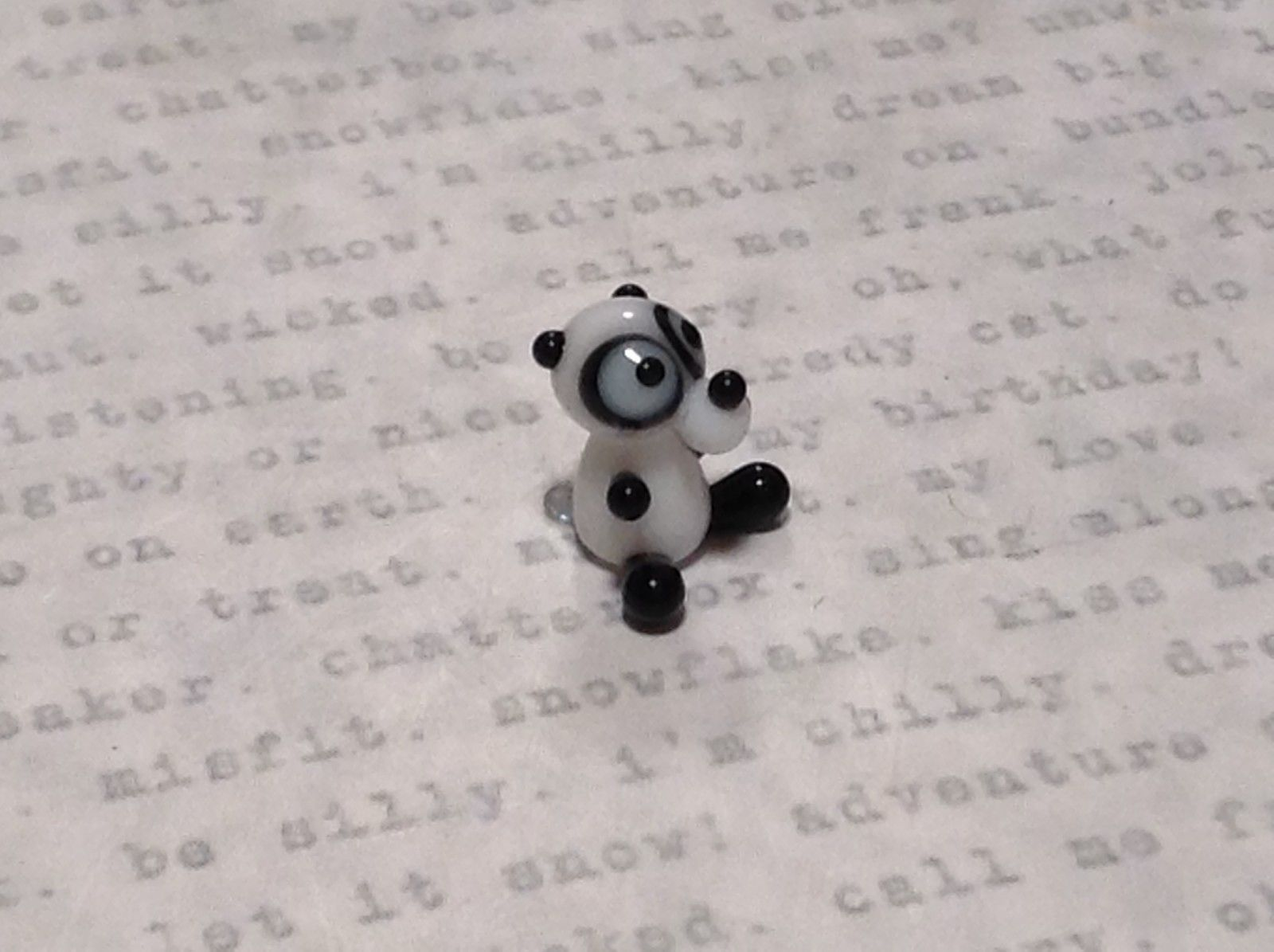 Miniature small hand blown glass black white comical panda bear made USA NIB