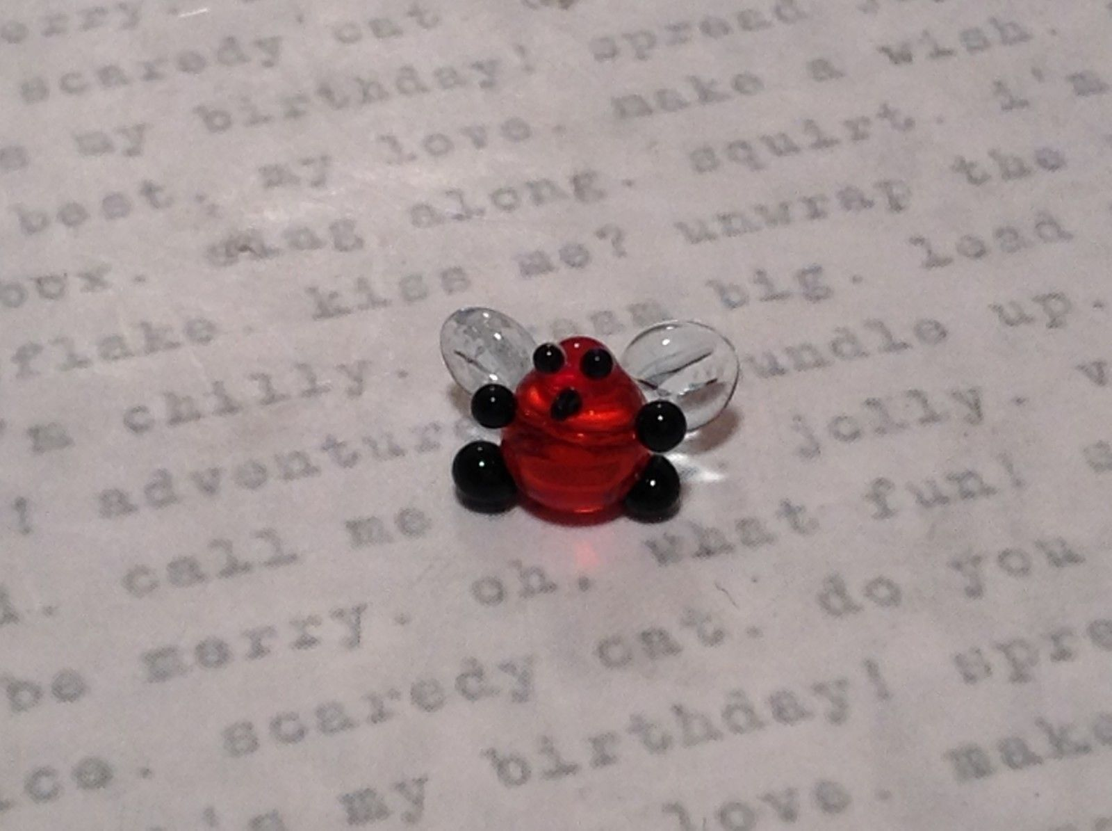Miniature small hand blown glass cute funny red bug clear wings made USA NIB