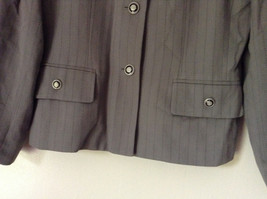 Jacket and Pant Suit by Kasper Grayish Green Striped Fancy Buttons Size 8P image 3
