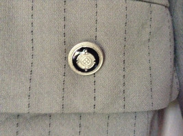 Jacket and Pant Suit by Kasper Grayish Green Striped Fancy Buttons Size 8P image 2