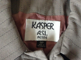 Jacket and Pant Suit by Kasper Grayish Green Striped Fancy Buttons Size 8P image 6