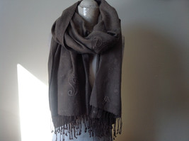 Large Brown Paisley Patterned Scarf with Tassels Very Wide Very Soft Material