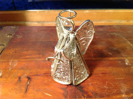 Metal and Glass Trumpet Angel Figurine Ornament Height 4 inches image 2