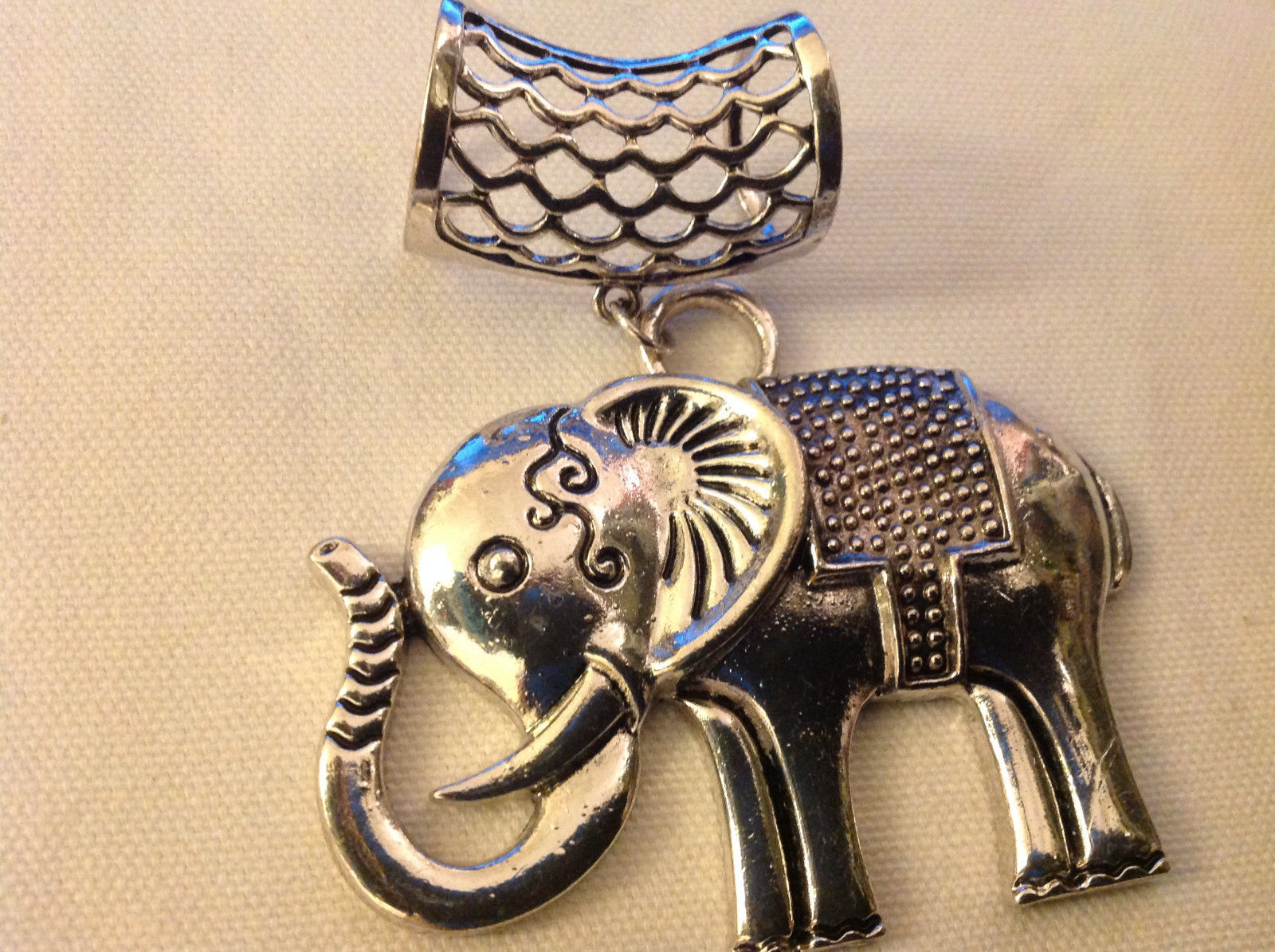 Large Elephant Shaped Silver Tone Scarf Pendant Total Length 4 Inches