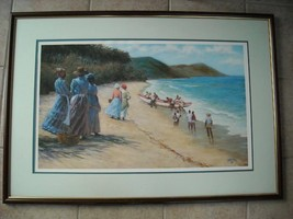 Large Framed Reproduction of Beach in 1800s Carty 91
