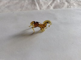 Micro Miniature hand blown glass made USA NIB Brown Horse kneeling or rearing image 2