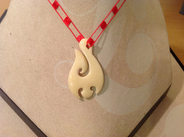 """Abstract indigenous necklace, plastic pendant, red threaded cord, 14"""" long image 2"""