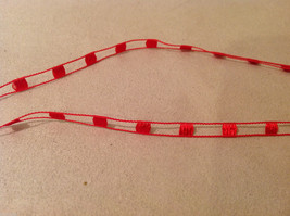 """Abstract indigenous necklace, plastic pendant, red threaded cord, 14"""" long image 3"""