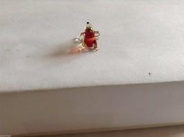 Micro Miniature hand blown glass made USA NIB  red / clear cute face dog image 3