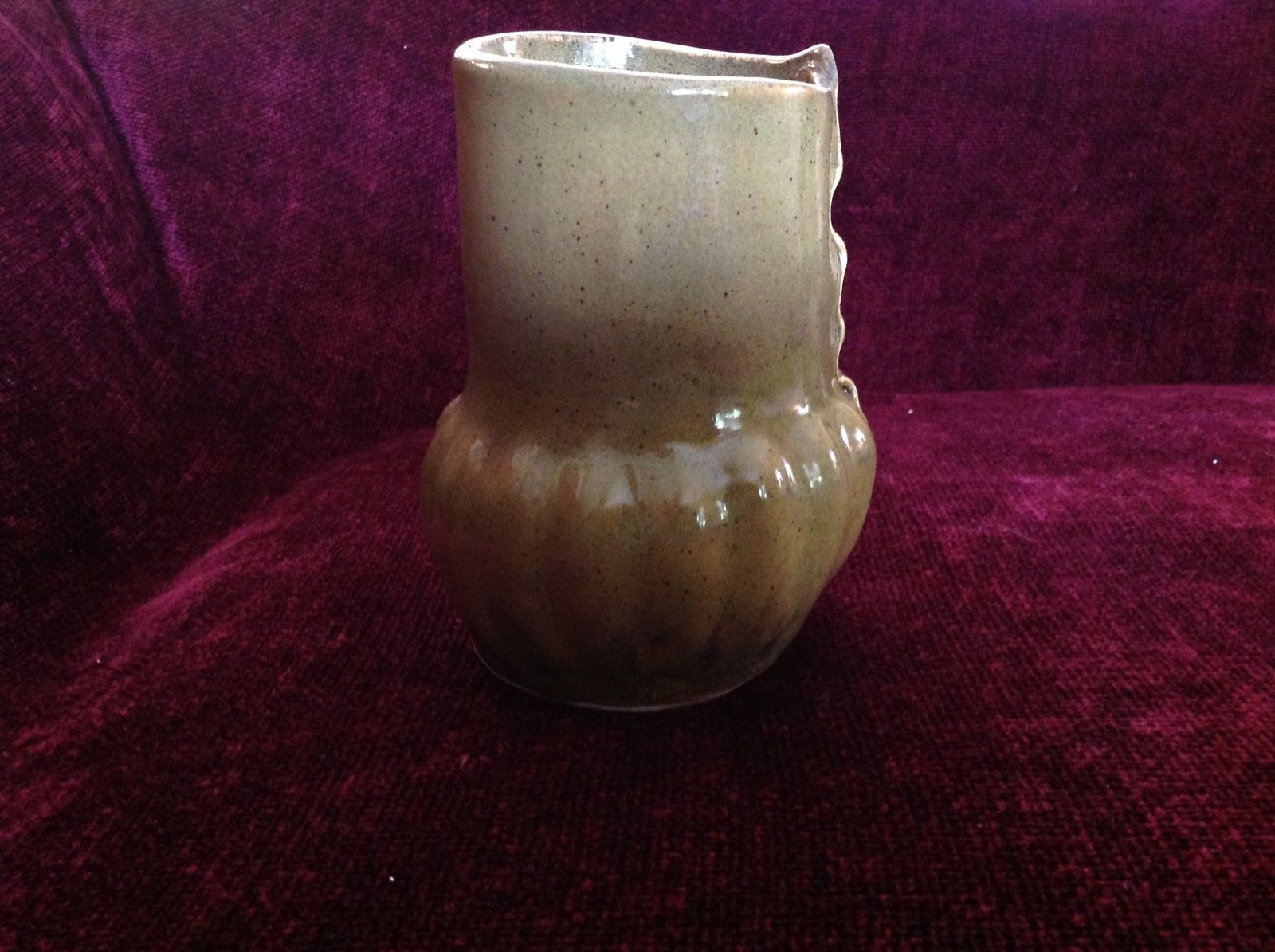 Large Green Handmade Ceramic Vase Six Inches High