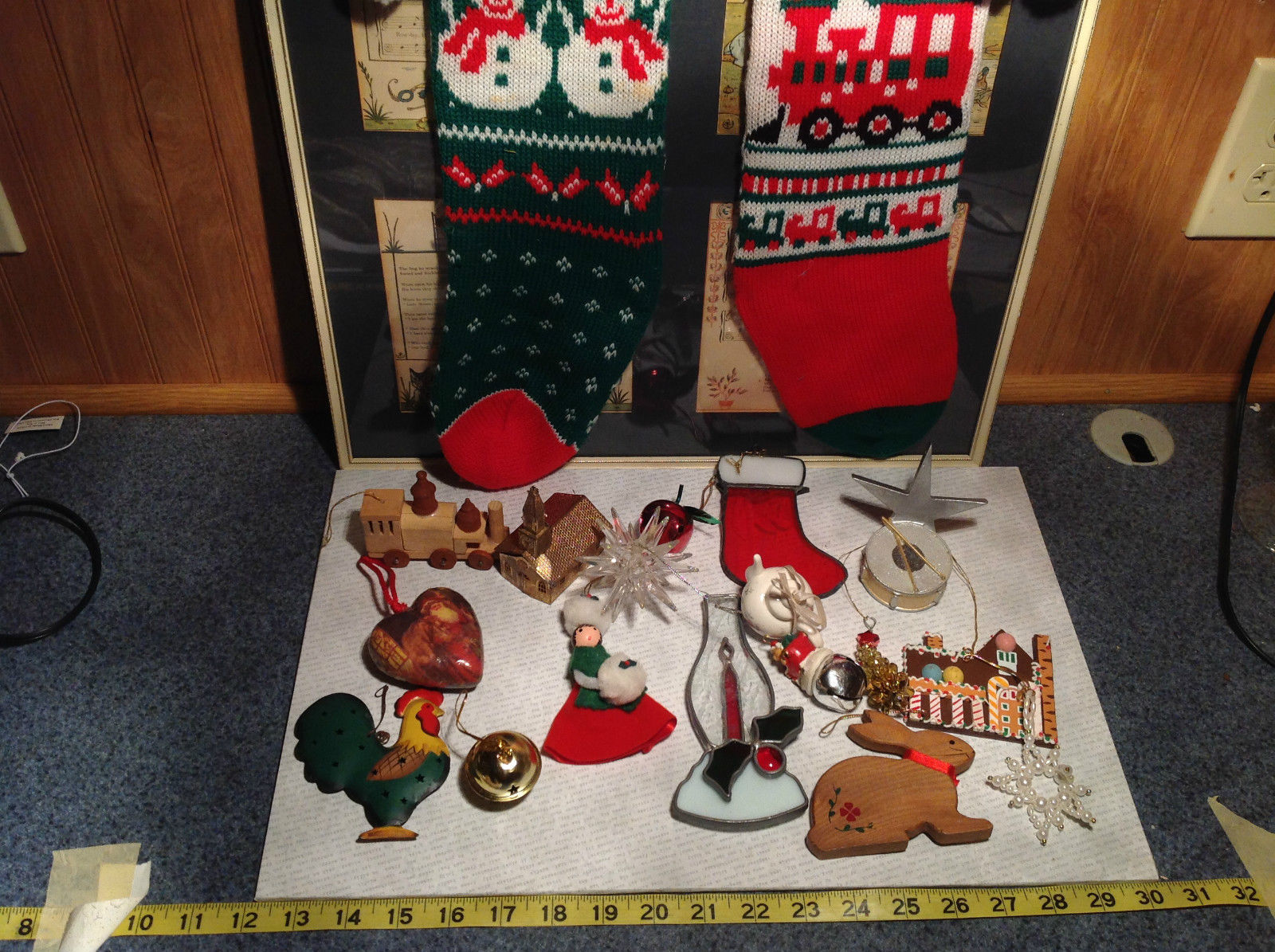 Large Grandma Instant Christmas Lot Two Stockings Many Ornaments AS IS