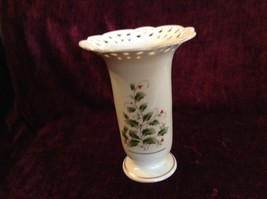 Large Japanese Made Vase with Berries Vines Interesting Design Gold Tone Rim - $34.64