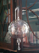 Large Glass Etched and embossed Ball Ornament w/ side flower hand made - $27.71