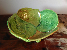 Large Green Leaf Shaped Ceramic Bowl Handcrafted Artisan Hydrangea Glazed
