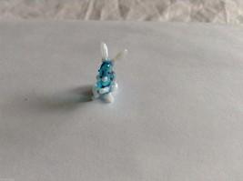 Micro Miniature hand blown glass made USA NIB white black blue speckled bunny image 2