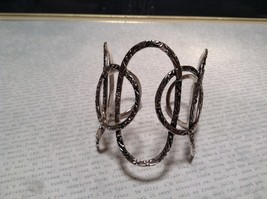 Large Intertwined Ovals Handcrafted Silver Plated Cuff Bracelet 925 Sterling