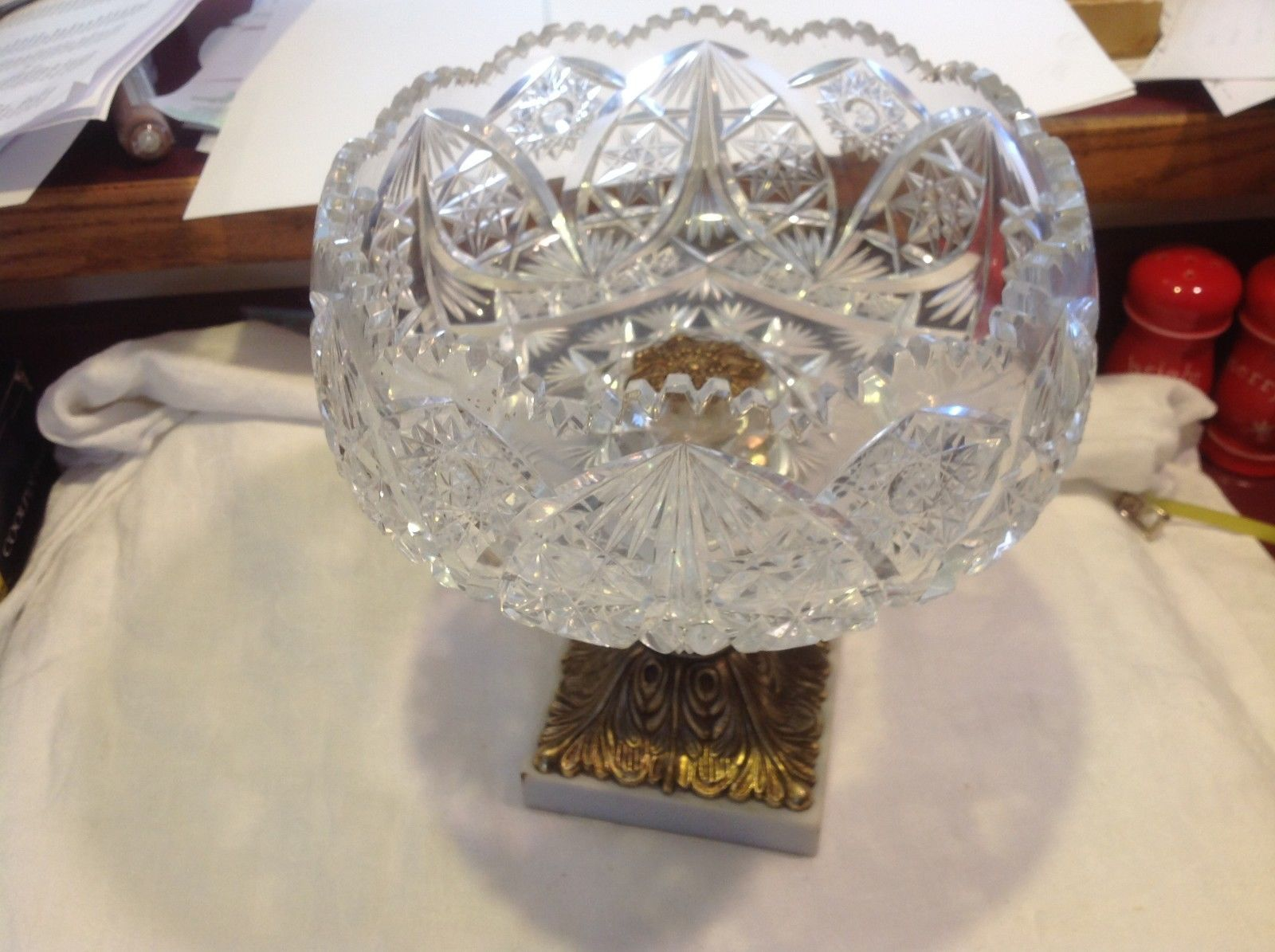 Large Lead  Crystal brass & marble footed bowl vintage American Brilliant
