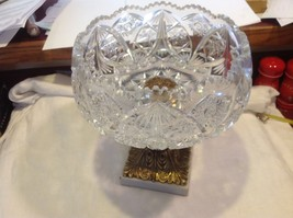 Large Lead  Crystal brass & marble footed bowl vintage American Brilliant image 1