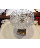 Large Lead  Crystal brass & marble footed bowl vintage American Brilliant - $391.05