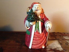 Large Resin Santa Figurine Red with Small Christmas Tree