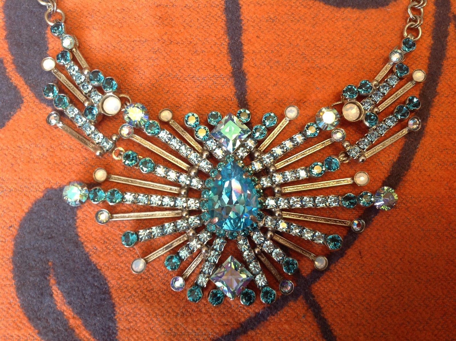 Large Sorrelli Necklace Blue Statement necklace made with Swarovski crystal NEW
