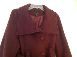 Adorable H and M Maroon Patterned Fabric Belted Peacoat Front Pockets Size 6 image 2