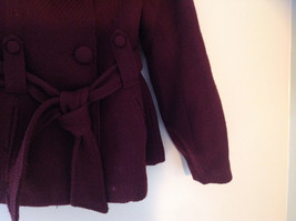 Adorable H and M Maroon Patterned Fabric Belted Peacoat Front Pockets Size 6 image 4