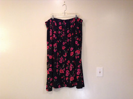 Jaclyn Smith Plus Black with Pink Flowers Skirt Elastic Waist in Back Size 3X image 2
