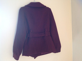 Adorable H and M Maroon Patterned Fabric Belted Peacoat Front Pockets Size 6 image 7