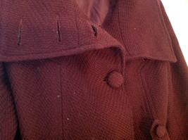 Adorable H and M Maroon Patterned Fabric Belted Peacoat Front Pockets Size 6 image 5