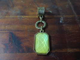 Large Yellow Stone Attached to Chain Gold Tone Vintage Style Scarf Pendant