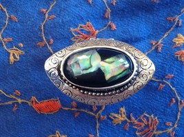 Large resin Abalone antique inspired silver cabuchon elegant ring one size image 1