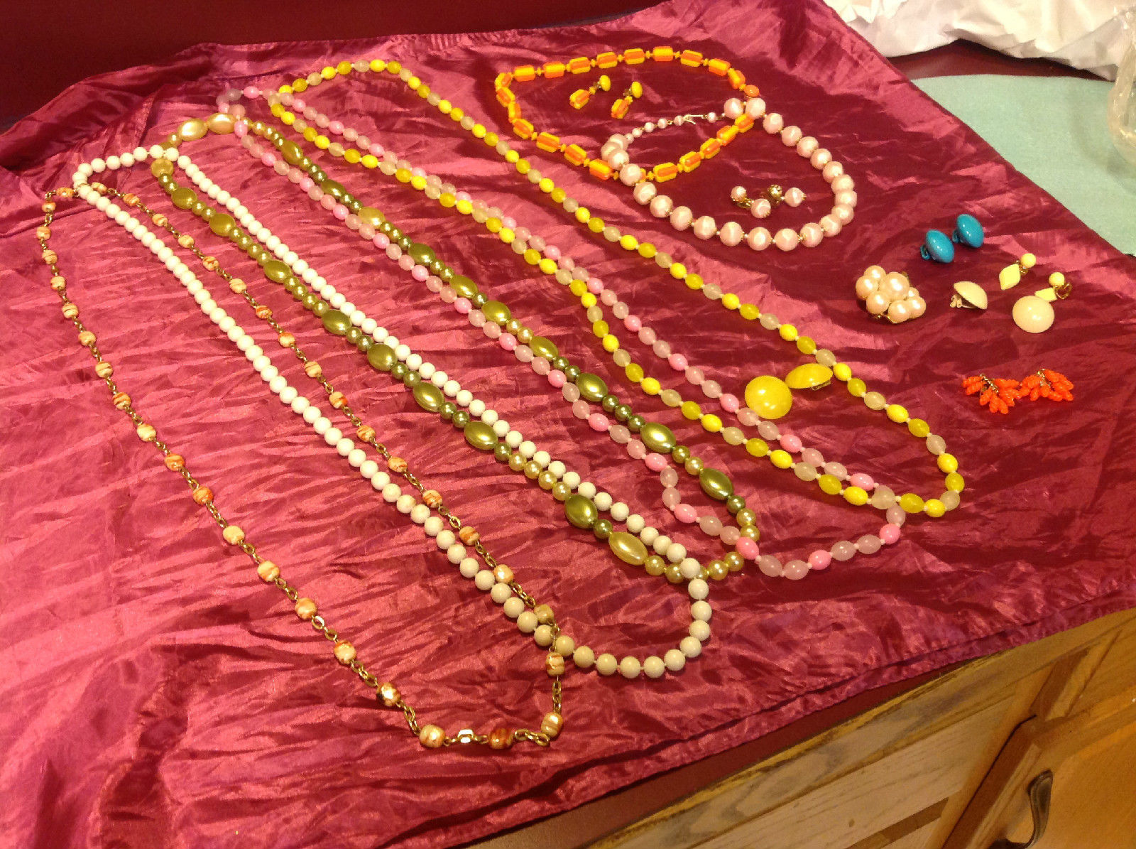 Large set of costume necklaces, earrings and a chain