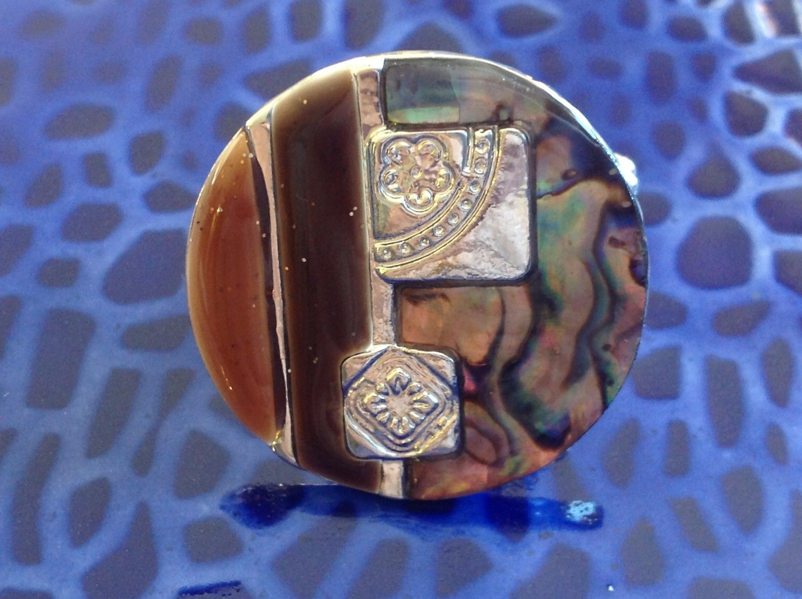 Large resin Abalone antique inspired silver cabuchon statement ring one size