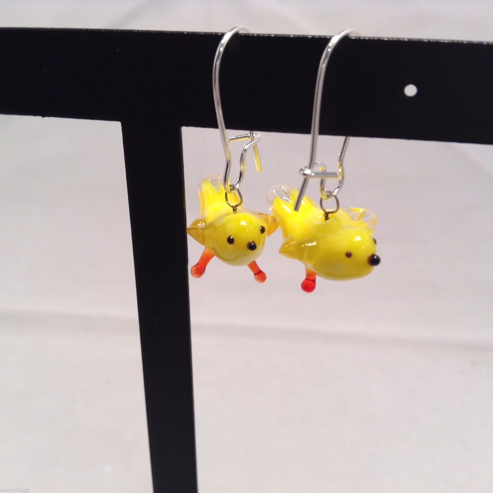 Miniature small hand blown glass made USA NIB yellow canary bird  earrings
