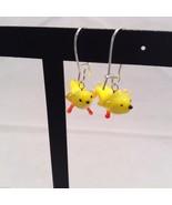Miniature small hand blown glass made USA NIB yellow canary bird  earrings - $29.69