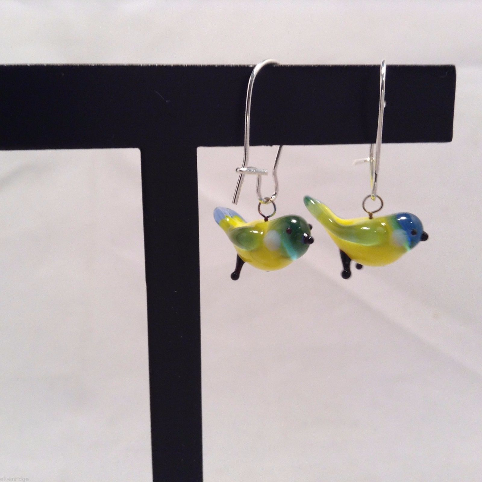 Miniature small hand blown glass made USA NIB yellow green blue bird earrings