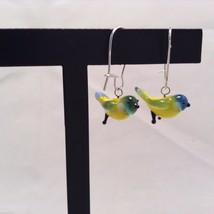 Miniature small hand blown glass made USA NIB yellow green blue bird earrings image 1