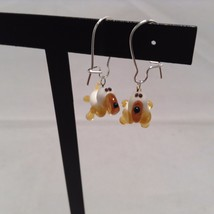 Miniature small hand blown glass made USA NIB basset hound dog earrings image 1
