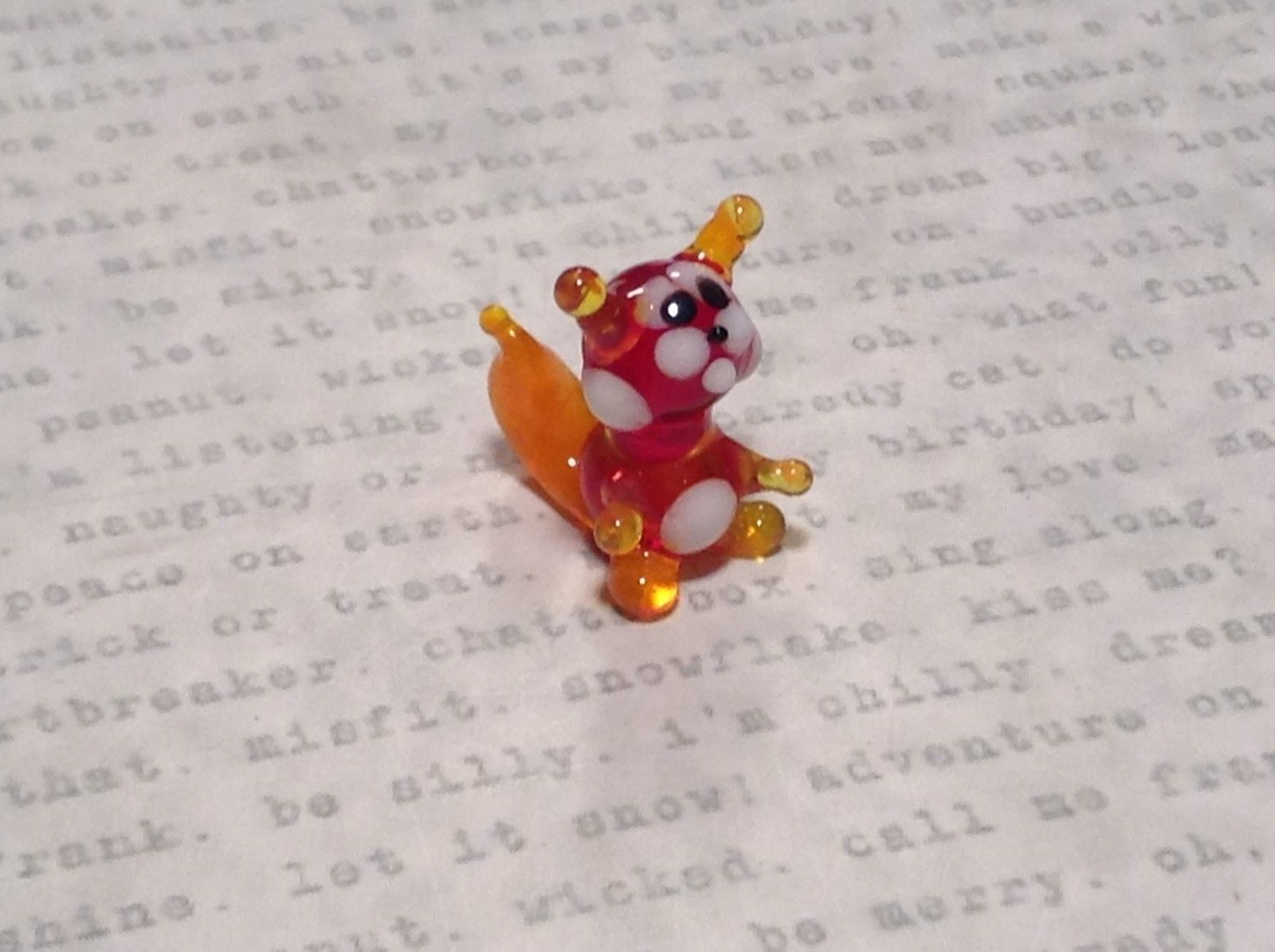 Miniature small hand blown glass red squirrel made USA NIB